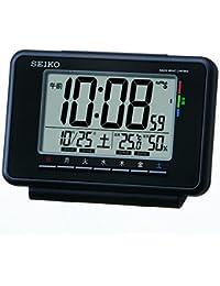 セイコー クロック 目覚まし時計 電波 デジタル ウィークリー アラーム カレンダー 快適度 温度 湿度 表示 黒 SQ775K SEIKO