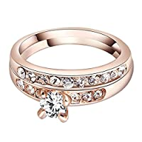 Baosity ローズゴールド リング 結婚指輪 ラインストーン 輝き 光沢 美しい アクセサリー 贈り物 全4サイズ - サイズ6