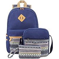 Plambag Canvas Backpack Set 3 Pcs for Women Teen Girls