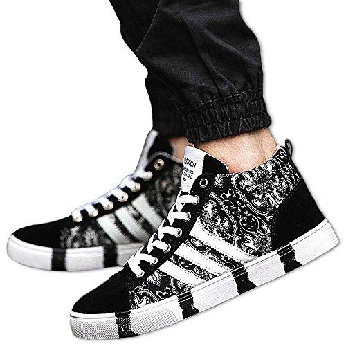 ハイカット スニーカー メンズ ペイズリー 総柄 シューズ 靴 厚底 シークレット 人気 (26.0, ブラック)