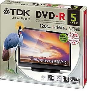 TDK 録画用DVD-R デジタル放送録画対応(CPRM) 1-16倍速 インクジェットプリンタ対応(ホワイト・ワイド) 5枚パック 5mmスリムケース DR120DPWC5UE