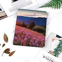 iPad 2/3/4 対応 2つ折りケース スタンド機能 オートスリープ超薄型 傷つけ防止ケース 手帳型カバー 環境にやさしい材質花と山の牧歌的な春の牧草地農村日の出風景