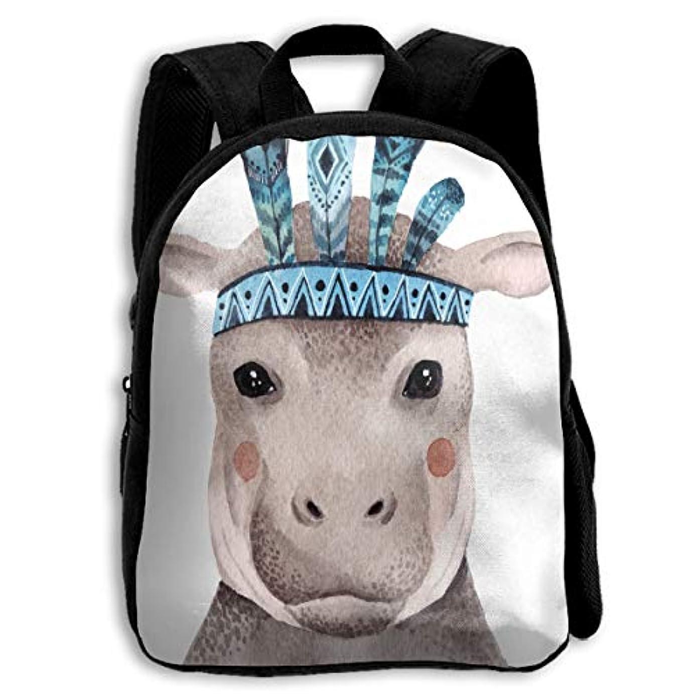 君主に向かって水没キッズ リュックサック バックパック キッズバッグ 子供用のバッグ キッズリュック 学生 水彩 かわいい カバ 動物 肖像画 アウトドア 通学 ハイキング 遠足
