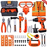 iBaseToy 45 PCS Kids Tool Set - Pretend Play Construction Toy with Tool Box Kids Working Overalls Electronic Toy Drill Construction Accessories Gift