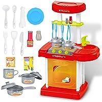 調理器具ロールPretend Play Toyセット、子供sacowキッチン料理ごっこRole Play Toy Set withライトサウンドエフェクト