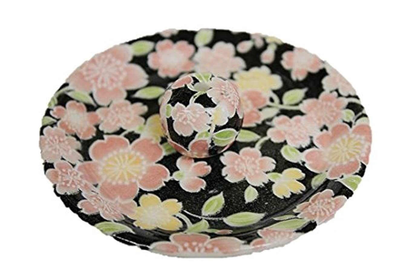 梨拮抗する冊子9-12 桜友禅 お香立て 9cm香皿 お香たて 陶器 日本製 製造?直売品