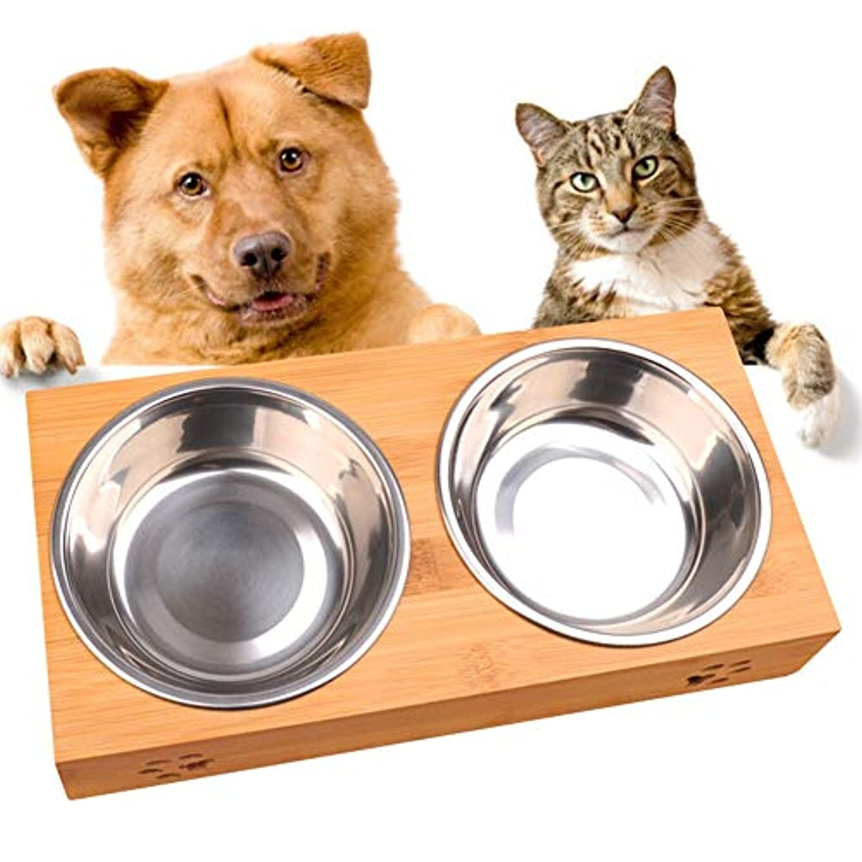 LIFEダブル食品水スタンド皿フィーダ食器ステンレス鋼犬毒性耐久性のある防滴ペットボウル猫簡単クリーンペット食器