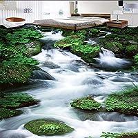 Wuyyii カスタム滝石3D床絵画自己接着壁画ストリートコリドーショッピングモールのリビングルームの壁紙-400X280Cm