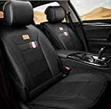 (ファーストクラス)FirstClass 四季用 車シートカバー 前部 フロントシートカバー 車シート保護 エアバッグホールあり PUレザー製 通気性に富む 快適 スムーズ 5シート車汎用 2枚 ブラック