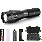 PeakPlus Rechargeable Tactical Flashlight LFX1000 (18650 Battery and Charger Included) - High Lumens LED, Super Bright, Zoomable, 5 Modes, Water Resistant - Best Camping, Emergency Flashlights