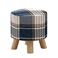 靴のベンチ/純木スツール、生地のソファーのベンチの茶テーブルスツールを変更して下さい(色:格子、30cm * 29cm) (Color : Blue)