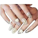 人工真珠のラインストーンの偽の釘の結婚式の構造のネイルアート、ピンク、2パック - 48枚