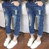 子供服 個性派 ジーパン おしゃれ 女の子 男の子 ダメージ 長ズボン (110cm, 紺)