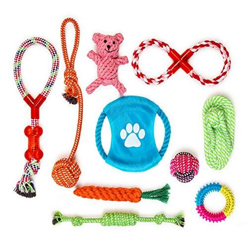 FONPOO犬用 噛むおもちゃ ぬいぐるみ 丈夫 ロープ ペット 小型 中型犬 可愛い 10個セット