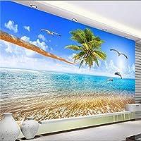 Xueshao 美しい海の風景ココ愛イルカテレビの背景の壁の大きな壁画の壁紙-120X100Cm