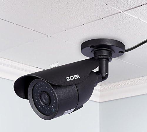 ZOSI【防犯カメラ・監視カメラ】防犯カメラ CCTVカメラ 800TVL 960H 高画質 52万画素 赤外線LED42個 IRカット夜間監視 レコーダーに対応 夜間白黒に切り替え 暗視 防水防塵 屋外設置 アナログタイプ ブラック