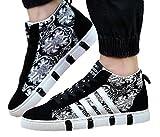 Foras69 (ふぉらす69) メンズ ハイカット スニーカー シューズ ブーツ タイプ ブラック ホワイト 白 黒 モノトーン ペイズリー 柄 軽量 靴 (25.0)