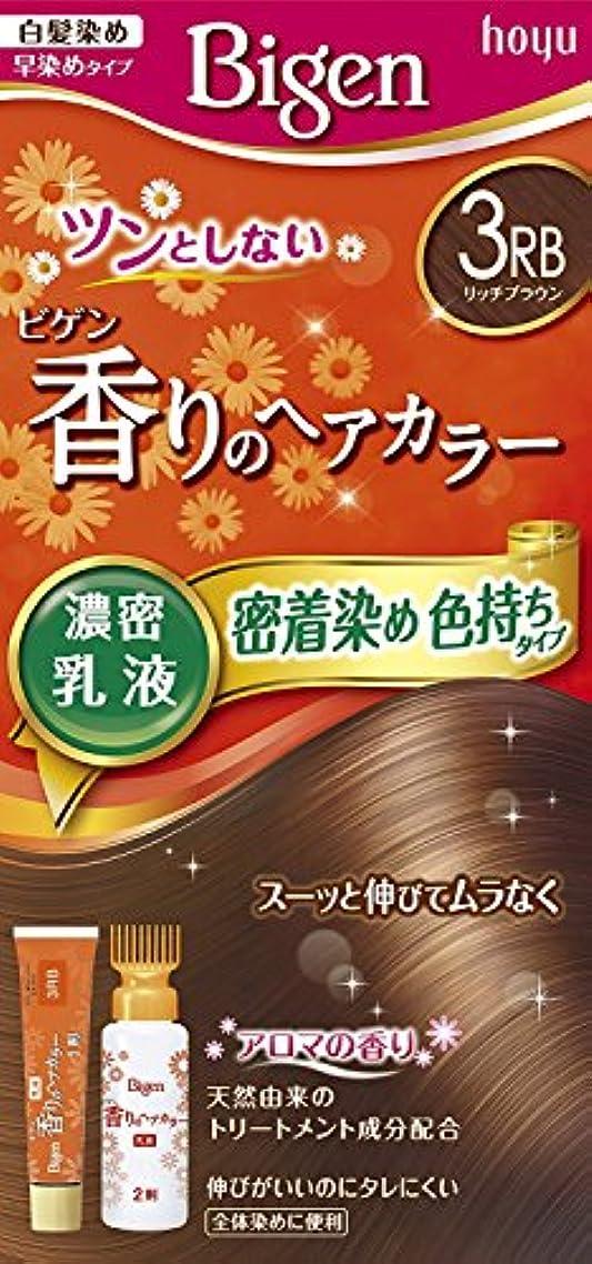 結晶勃起窒素ホーユー ビゲン香りのヘアカラー乳液3RB (リッチブラウン) 40g+60mL ×3個