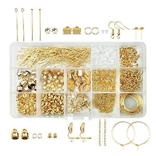 ゴールド パーツキット スターターセット14種類 約939個 基礎 パーツ 手芸材料 ケース付き(ゴールド)