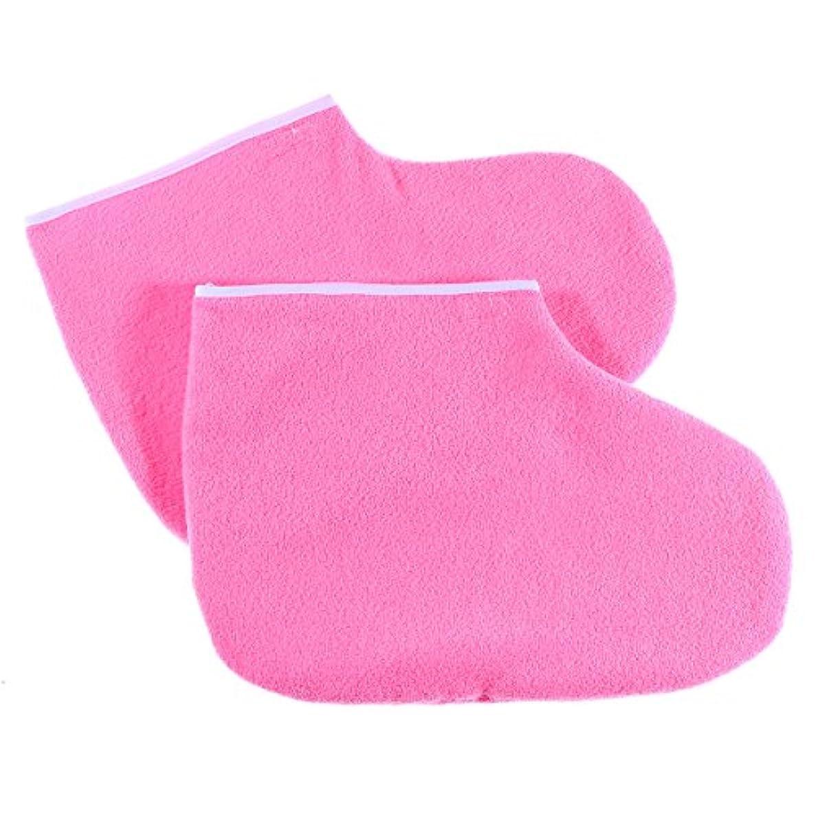 心臓退院取り除くHealifty ワックスバスハンドトリートメントミットフットスパカバー薄型ヒートセラピー絶縁ソフトコットンミットンフィートハンドケアセット(ピンク)
