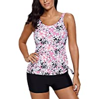EVALESS Womens Flower Print Tie Side Sleeveless Tankini Top With Shorts Swimsuit