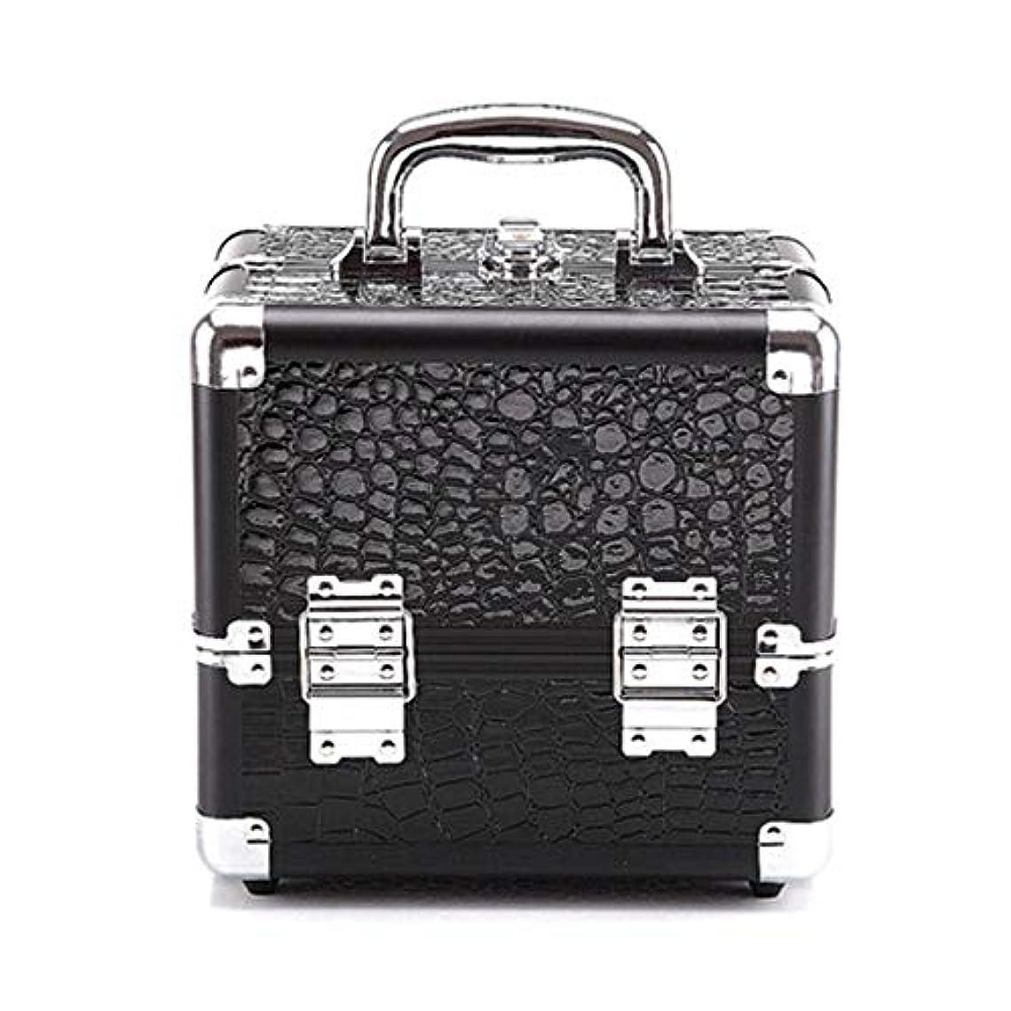 定刻エコーマウントバンク化粧オーガナイザーバッグ クロコダイルパターンストレージ美容ボックスメイクアップネイルジュエリー化粧品バニティケース 化粧品ケース (色 : Black(S))