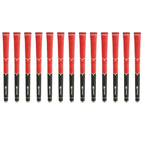Karma V-Cord Standard Golf Grip Bundle, Black/Red, 13 Pieces