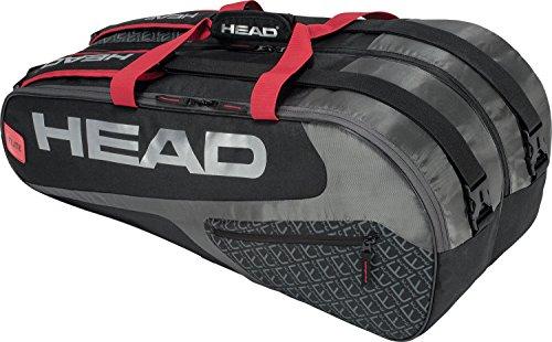 ヘッド(HEAD) テニス ラケットバッグ エリート9Rスーパーコンビ ラケット9本収納可 283438 ブラック×レッド(BKRD)