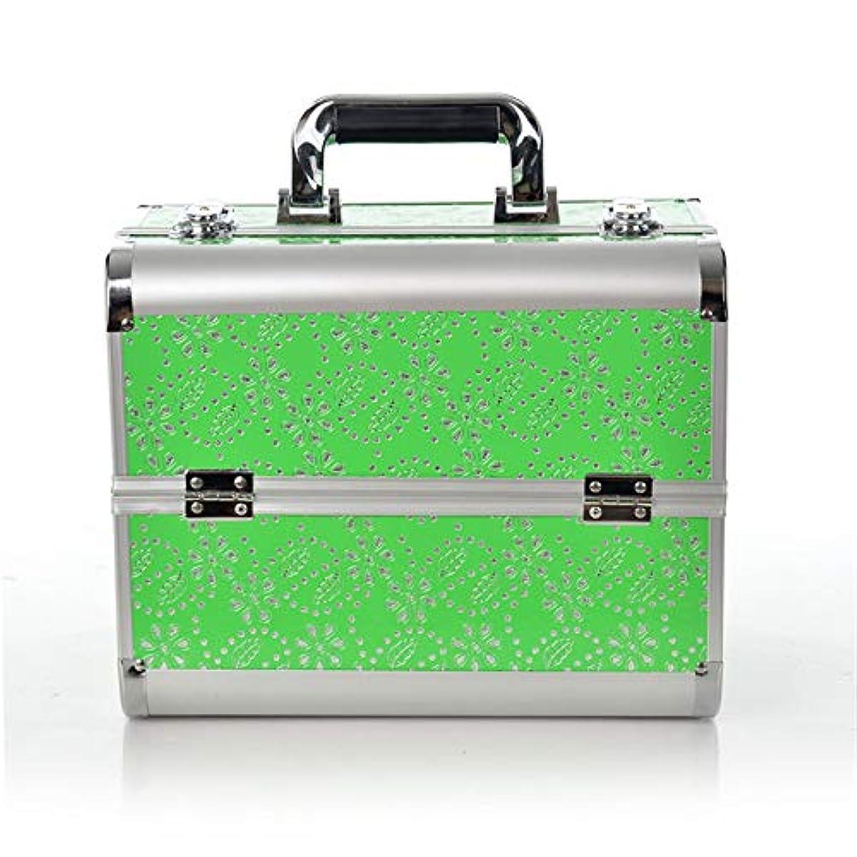 秀でる通訳自治化粧オーガナイザーバッグ 化粧箱バニティロック可能な美容メイクアップネイルジュエリーポータブルケース収納ボックスオーガナイザー 化粧品ケース (色 : 緑)