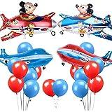 飛行機バルーン パーティー飾り付け ロケット風船 ラテックスバルーン レッドブルー ベビーシャワー誕生日パーティー飾り 幼稚園 部屋装飾 24枚セット