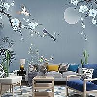 壁画壁紙花と鳥手描き壁画リビングルームのソファテレビの背景家の装飾 440cm x 270cm