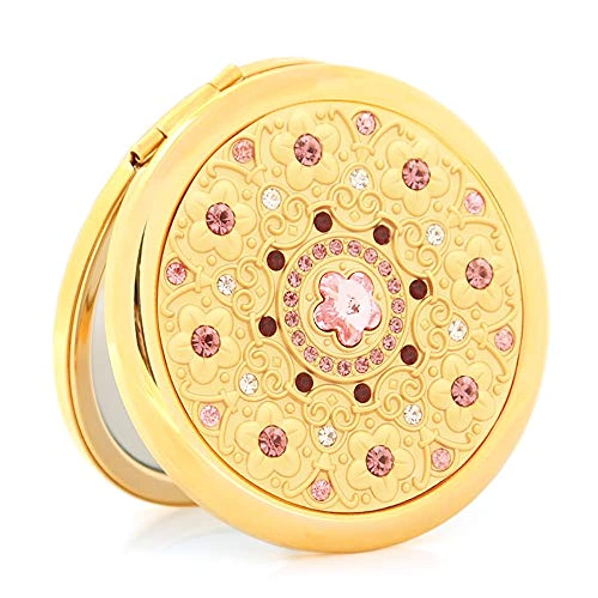 ホップ顎純粋に流行の ゴールドポータブルHD化粧鏡ポータブル折りたたみ両面小さなミラーのガールフレンドバレンタインデーの贈り物