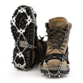 OUTAD 18本爪 アイゼン 簡単装着 収納袋付き S/M/L/XL四サイズ 雪山 登山 トレッキング (M)