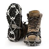 OUTAD 18本爪 アイゼン 簡単装着 収納袋付き S/M/L/XL四サイズ 雪山 登山 トレッキング (L)
