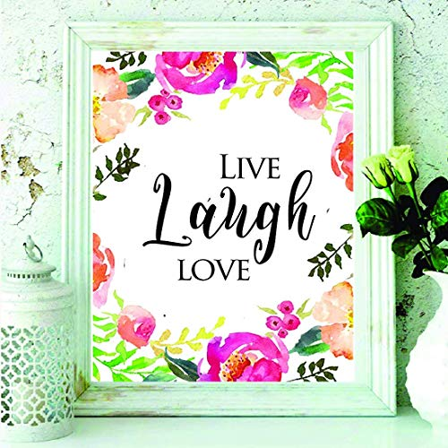 Live Love Laugh - Bedroom Wall Decor, Living Room Print, Family Quote - Home Decor Quote - Bedroom Decor - Living Room Décor - Bedroom Wall Art