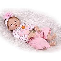 NPKDOLL アクリルアイズとリボーンベビードールハードシミュレーションシリコーンビニール22インチの55センチメートル磁気口リアルなかわいい防水女の子のおもちゃピンクのケーキ Reborn Baby Doll A1JP