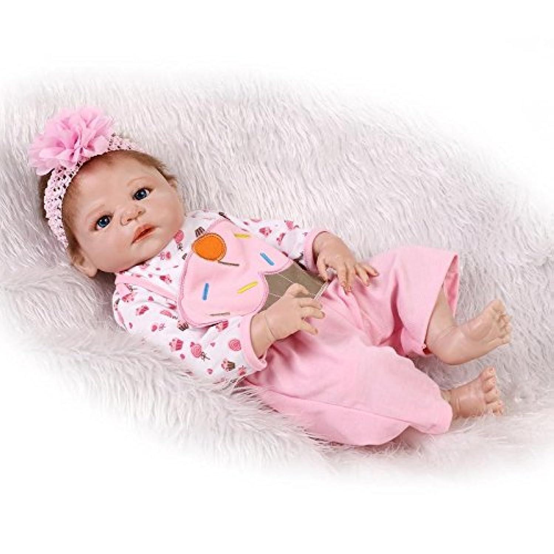 Nicery 人形 アクリルアイズとリボーンベビードールハードシミュレーションシリコーンビニール22インチの55センチメートル磁気口リアルなかわいい防水女の子のおもちゃピンクのケーキ Reborn Baby Doll Christmas Gift