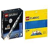 レゴ(LEGO)アイデア レゴ(R) NASA アポロ計画 サターンV 21309 & クラシック 基礎板(ブルー) 10714
