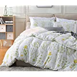 Fire Kirin Botanical Duvet Cover Set 3pc (1 Duvet Cover + 2 Pillowcases) Yellow Flowers and Green Leaves Floral Garden Pattern Printed Bedding Cover Sets (Queen