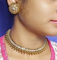 Indian CostumeファッションクリスタルストーンPolkiネックレスイヤリング従来ジュエリーレディース