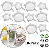 Adpartner Reusable Silicone Stretch Lids (10-Pack, 2.6in+3.74in), BPA-Free Small Silicone Can Covers Flexible Seal Lids for 2.6 to 5.5in Yogurt/Regular Wide Mouth Mason Jars/Soda Beer Pet Food Cans