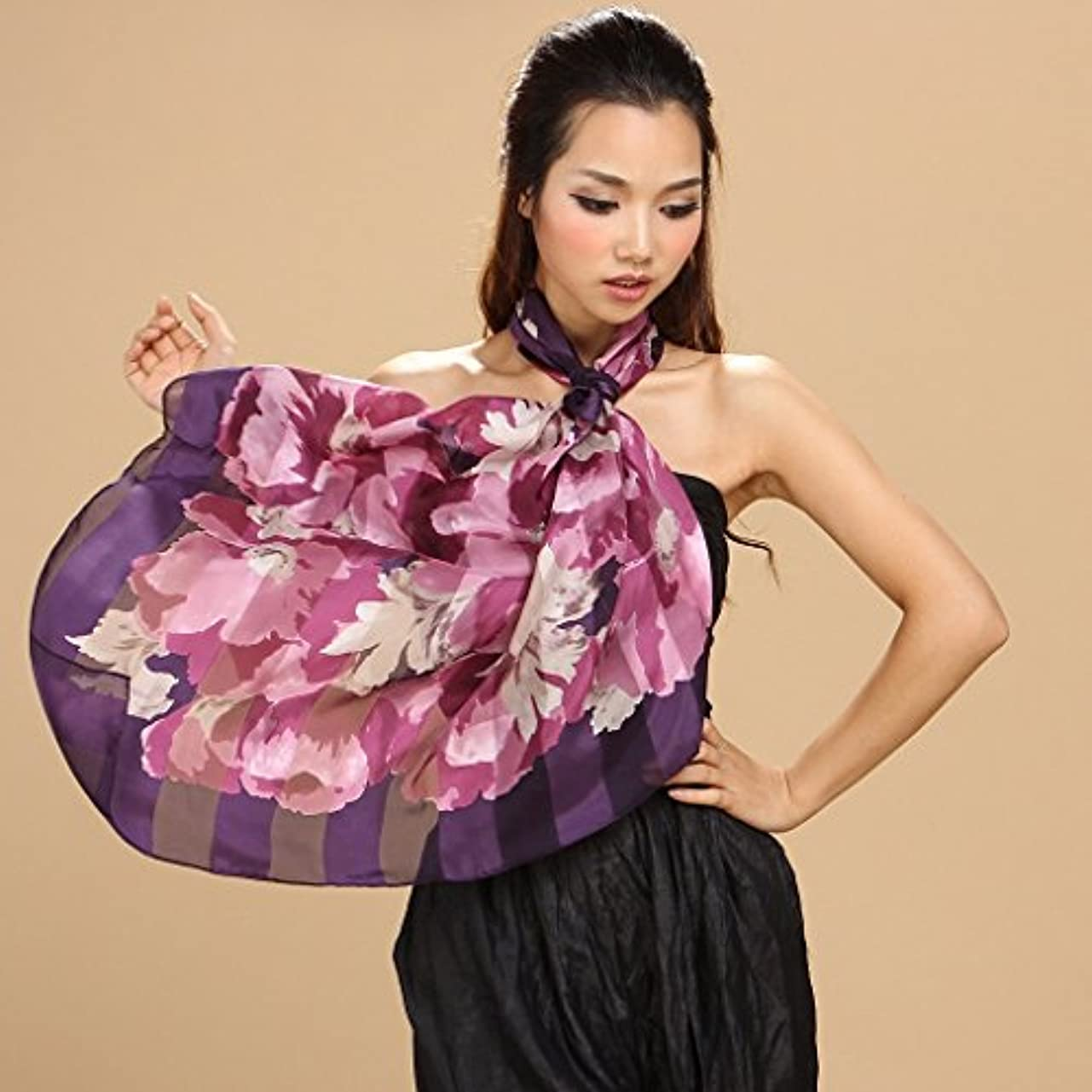 足誠実ブランチGAODUZI 女性の春と秋の新しいシルクハンドカーリーストライプの花ファッションスカーフ ( 色 : A )