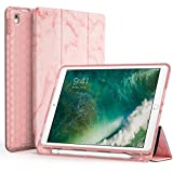 iPad Pro 10.5 Case with Pencil Holder, Swees Slim Full Body Protective Smart Cover Leather Case Rugged Shockproof with Stand Built-in Apple Pencil Holder for iPad Pro 10.5 inch, Pink Marble