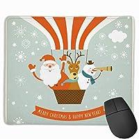 マウスパッド クリスマス 熱気球 グレー ゲーミング オフィス最適 おしゃれ 疲労低減 滑り止めゴム底 耐久性が良い 防水 かわいい PC MacBook Pro/DELL/HP/SAMSUNGなどに 光学式対応 高級感プレゼン plesamncgb
