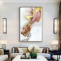 Llxhg塗装厚いテクスチャ抽象絵画ポップアート抽象ゴールド油絵キャンバスにリビングルーム-60X100Cmフレームなし