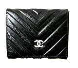シャネル 財布 CHANEL ゴールド金具 レディース 三つ折り財布 Vステッチ ウォレット短財布 ファッション小物 (ブラック)
