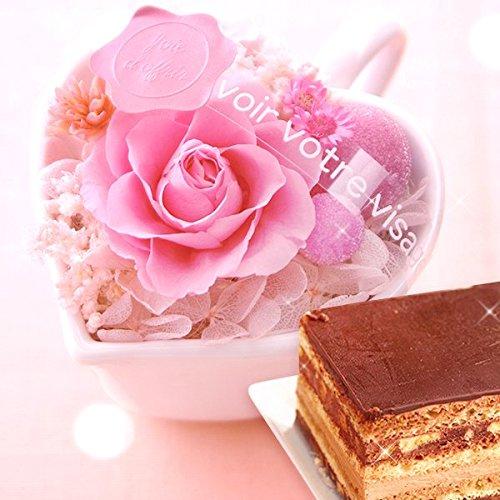 花 スイーツセット ハートポットプリザとチョコレートケーキ (...