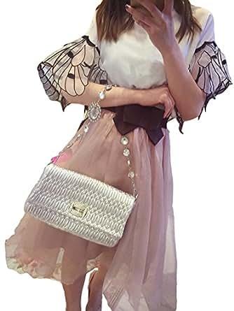 レディース ツーピース スカートスーツ シャツ ブラウス スカート 夏 リネン オーガンジー ミニ 半袖 フリル 透け感 蝶 刺繍 リボン ラウンドネック 美脚 ビーチ リゾート 通勤 パーティ 結婚式 2次会 ドレス エレガント 水着 セクシー 可愛いスカーフ付き KK515 (S)