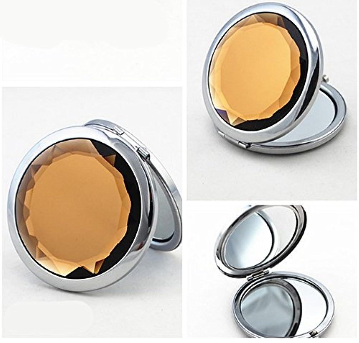 サーキットに行く十分です香ばしいSHINA 宝石飾りのコンパクトミラー クリスタル調化粧鏡拡大鏡付き 丸型の折りたたみ鏡 化粧箱入りミラー 手鏡 おしゃれの小物 (mirror-1-J)