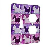 シングルギャングトグルスイッチ壁プレート–ブラックScottish Terrier withブルー花Scottie Dog Electricアートby Denise Every マルチカラー combo-s-ac2-switch-2gang0171